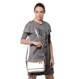 HONG KONG CLOSE OUT DEAL- 100% Genuine Leather Pink Metallic Colour Crossbody Bag with Removable Sho