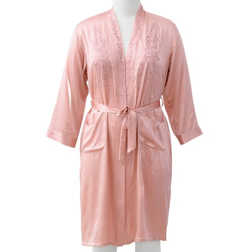 100% Mulberry Silk Robe with Embroidery in Peach Pink Colour - Size L (Fits M-L)