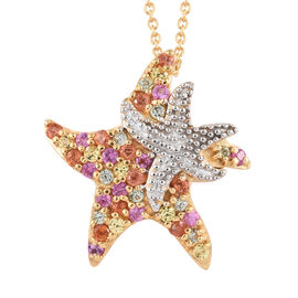 Rainbow Sapphire (Rnd) Star Fish Pendant With Chain (Size 18) in 14K Gold Overlay Sterling Silver 0.750 Ct.
