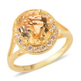 4.89 Ct Uruguay Citrine and Cambodian Zircon Halo Ring in Gold Plated Silver