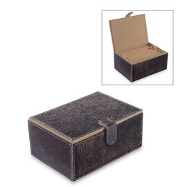 Hide Leather Two Tier Small Jewellery Box with Magnetic Flap Closure (Size 18x13x8 Cm) - Brown Colou