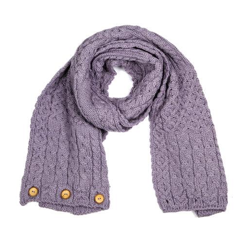 Carraig Donn 100% Merino Wool Knitted Infinity Celtic Scarf (160x40 Cm) - Lavender