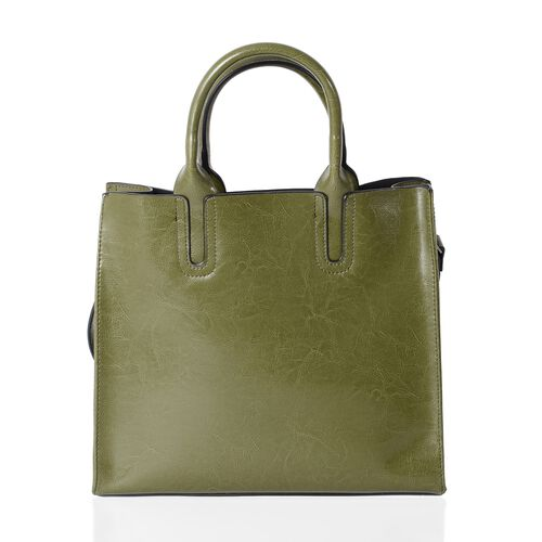 Close Out Deal - 100% Genuine Leather Green Colour Tote Bag with Removable Shoulder Strap (Size 32x28x13x12.5 Cm)