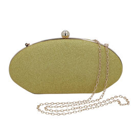 Gold Sparkly Clutch Bag with Detachable Shoulder Chain (Size 25x5x12 Cm)