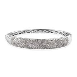 GP 3.02 Ct Diamond and Blue Sapphire Stacker Bangle in Platinum Plated Silver 28.33 Grams 7.5 Inch