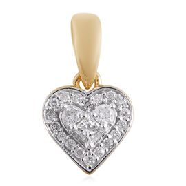 9K Yellow Gold Diamond Heart Pendant  0.15 Ct.