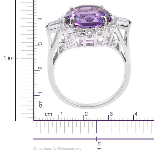 Zambian Amethyst (Rnd 6.35 Ct), White Topaz Ring in Platinum Overlay Sterling Silver 8.250 Ct.