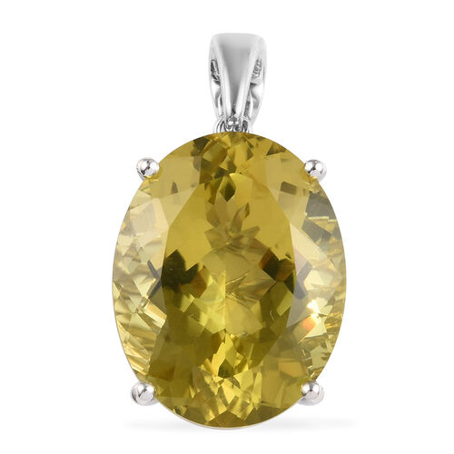 44.50 Ct Natural Ouro Verde Quartz Solitaire Pendant in Platinum Plated Silver 6.50 Grams