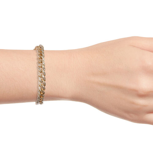 Super Auction-Diamond (Bgt) Curb Bracelet (Size 7.5) in Yellow Gold Overlay Sterling Silver 3.050 Ct, Silver wt 20.00 Gms,