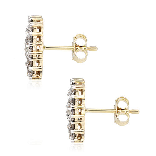 9K Yellow Gold SGL Certified Natural Diamond (I3/G-H) Boat Cluster Stud Earrings (with Push Back) 1.00 Ct.