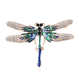 Green and White Austrian Crystal Enamelled Dragonfly Brooch in Gold Tone