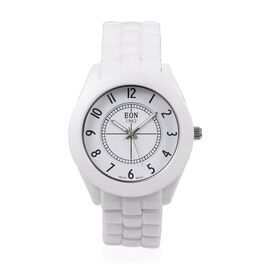 EON 1962 Swiss Movement 3 ATM Water Resistant Watch with Sapphire Glass and White Ceramic Strap
