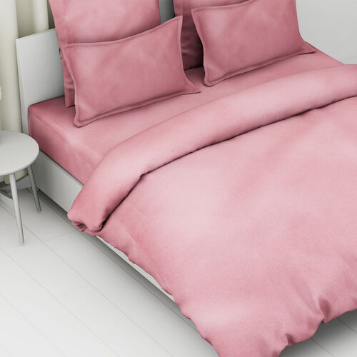 4 Piece Set - 100% Cotton Duvet Cover, 2 Pillow Case with Button Closure and Fitted Sheet (Size Double) - Dusky Pink