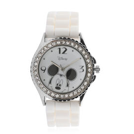 Disney Mickey Mouse Quartz Movement Crystal Watch with White Silicone Strap (25mm)