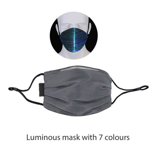 Colour Changing Rechargeable LED Luminous Face Cover (Size 15x21x3 Cm) - Black