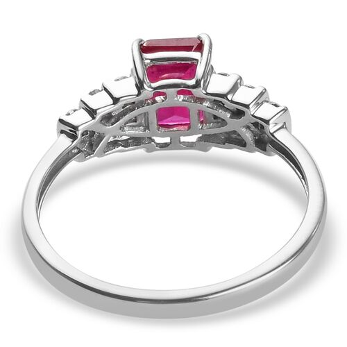9K White Gold African Ruby and Natural Cambodian Zircon Ring 1.75 Ct.