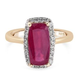 African Ruby (FF) and Natural Cambodian Zircon Ring in 14K Gold Overlay Sterling Silver 3.51 Ct.