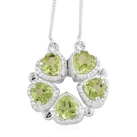 One Time Deal- Hebei Peridot (Hrt) Heart Necklace (Size 20) in Sterling Silver 2.250 Ct.