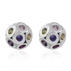 ELANZA Simulated Amethyst, Citrine, Tanzanite and Multi Gemstone Ball Stud Earrings (with Push Back) in Sterling Silver