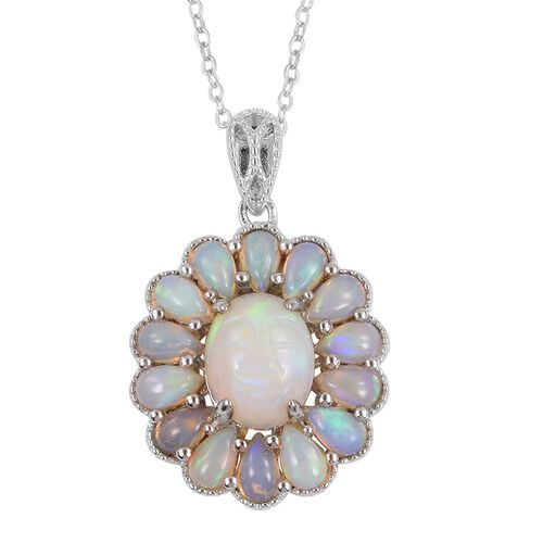 Smiling Face Carved Ethiopian Welo Opal (Ovl 10x8 mm1.50 Ct) Pendant with Chain in Rhodium Plated Sterling Silver 3.500 Ct.