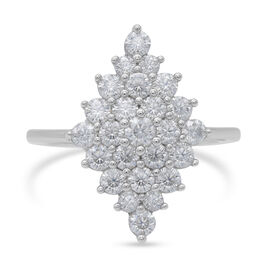 Moissanite Cluster Ring in Rhodium Overlay Sterling Silver 1.50 Ct