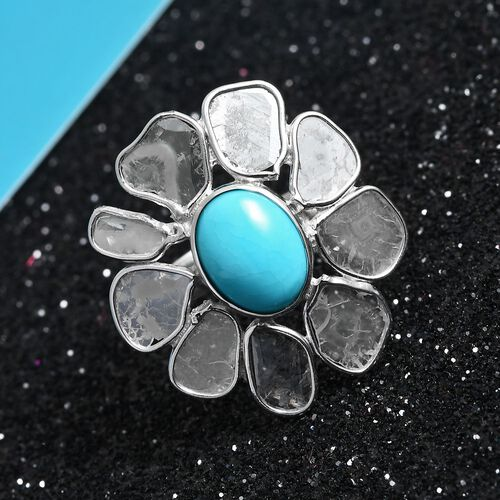 Artisan Crafted Arizona Sleeping Beauty Turquoise (Ovl 9x7mm), Polki Diamond Floral Ring in Platinum Overlay Sterling Silver 2.55 Ct.