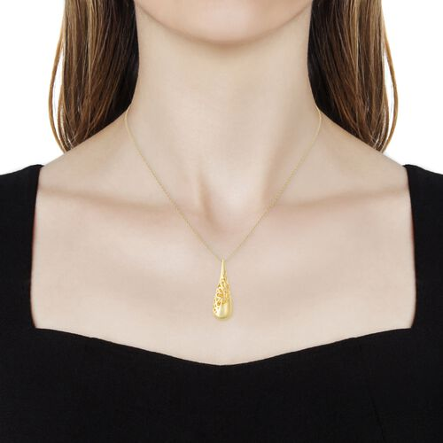 LucyQ Yellow Gold Overlay Sterling Silver Filigree Drip Pendant With Chain (Size 30), Silver wt 12.43 Gms.
