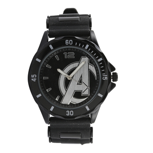 Marvel Avengers Quartz Movement Watch with Stainless Steel Black Rubber Strap (50mm)