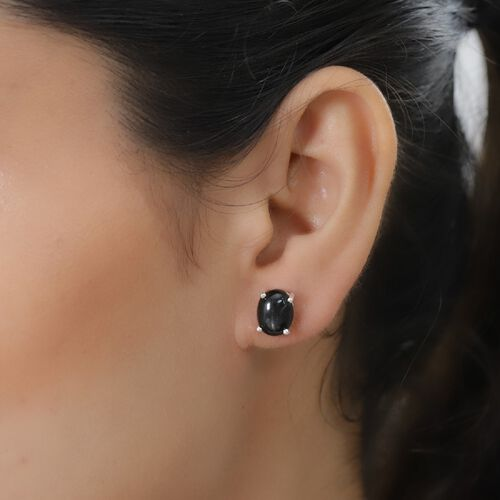 Black Star Diopside Solitaire Stud Earrings (with Push Back) in Sterling Silver 6.00 Ct.