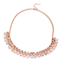 White Austrian Crystal Necklace (Size 18) in Rose Gold Tone