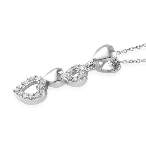 GP Diamond (Rnd), Kanchanaburi Blue Sapphire Heart Pendant With Chain (Size 20) in Platinum Overlay Sterling Silver 0.270 Ct.