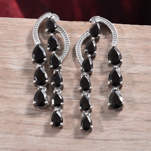 Elite Shungite (Pear) Dangling Earrings (with Push Back) in Platinum Overlay Sterling Silver 3.25 Ct.
