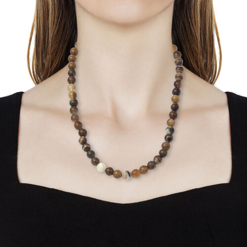 One Time Deal- Onyx and Multi Colour Beads Necklace with Lobster Lock in Sterling Silver (Size 20) 284.000 Ct