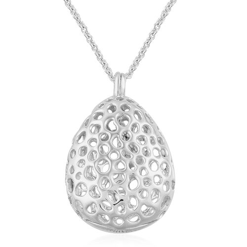 RACHEL GALLEY Rhodium Plated Sterling Silver Lattice Drop Pendant with Chain (Size 30), Silver wt. 1