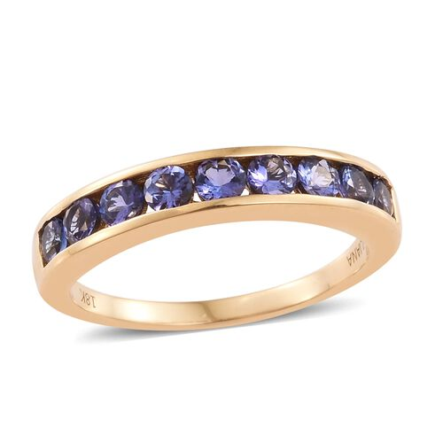 ILIANA 1 Ct AAA Tanzanite Half Eternity Band Ring in 18K Yellow Gold 4.26 Grams