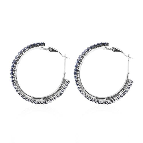 2 Piece Set - Simulated Blue Sapphire Adjustable Bolo Bracelet (Size 6-9) and Earrings (with Clasp) in Silver Tone