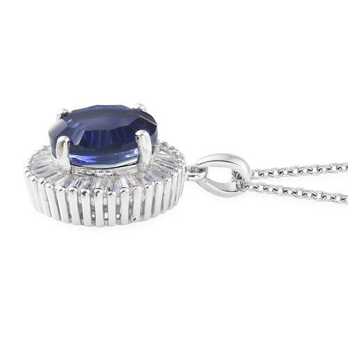 One Time Deal - Laser Cut Tanzanite Colour Quartz (Rnd 13mm, 8.35 Ct), White Topaz Pendant with Chain (Size 20) in Platinum Overlay Sterling Silver 10.750 Ct. Silver wt 5.80 Gms.