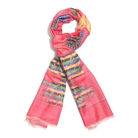Pink, Blue and Multi Colour Tree Pattern Scarf with Fringes (Size 190X70 Cm)