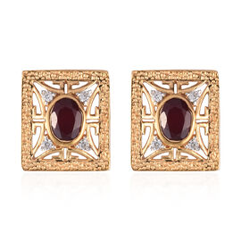 Designer Inspired African Ruby and Natural Cambodian Zircon Stud Earrings (with Push Back) in 14K Go