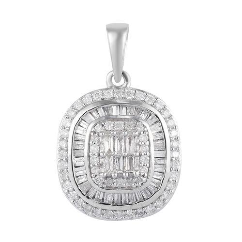9K White Gold Natural SGL Certified Diamond (I3/G-H) Pendant 0.75 Ct.