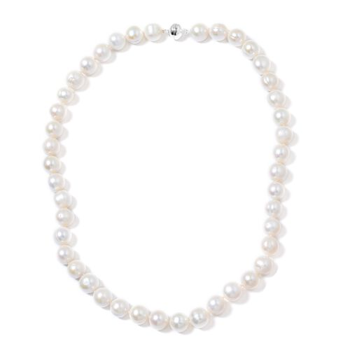 10-12 MM Near Round Rare Size Fresh Water Pearl Necklace (Size 20) with Sterling Silver Magnetic Clasp