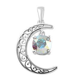 J Francis AB Crystal from Swarovski Crescent Moon Pendant in Sterling Silver