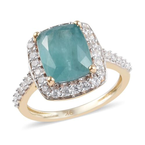 3.75 Ct AA Grandidierite and Zircon Halo Ring in 9K Yellow Gold 2.35 Grams
