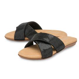Dunlop Embellished Open Toe Slip on Flat Slider Sandals in Black Colour