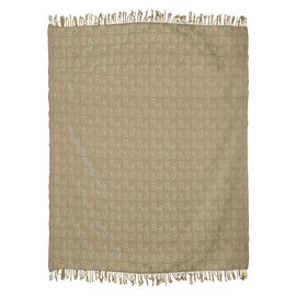 King Size Floral Jacquard Woven Cotton Chenille Bedspread in Beige and Off White Colour (260x240 cm)