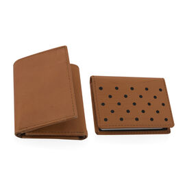 2 Piece Set - 100% Genuine Leather Tan Colour RFID Blocker Trifold Wallet (Size 22.5x10) and RFID Ca