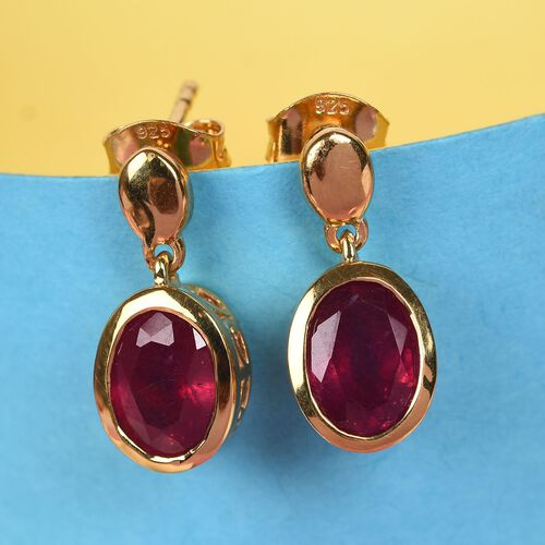 AA African Ruby Drop Earrings (with Push Back) in 14K Gold Overlay Sterling Silver 3.36 Ct.