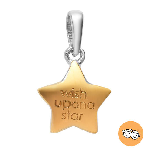 Children Star Pendant in Platinum and Gold Plated Sterling Silver