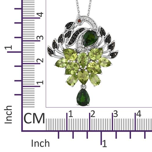 GP Russian Diopside (Pear), Hebei Peridot, Mozambique Garnet, Kanchanaburi Blue Sapphite and Multi Gemstone Peacock Pendant with Chain in Platinum Overlay Sterling Silver 8.750 Ct. Silver wt 8.47 Gms.