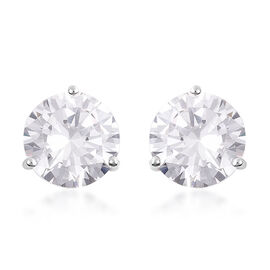 ELANZA- Swiss Star Cut Cubic Zirconia (Rnd 10mm) Stud Earrings (with Push Back) in Rhodium Plated St